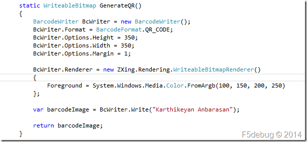 Programmatically Generate a QR code in Windows Phone 8 – F5debug